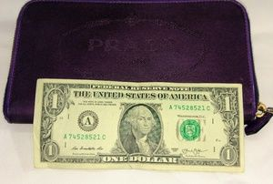 Prada nylon purple zip around wallet